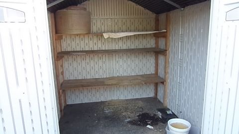 ... RUBBERMAID, 7u0027 SQUARE, STORAGE SHED WITH WOOD SHELVING UNIT
