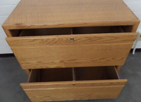 ... OAK TWO DRAWER LOCKING LATERAL FILE CABINET WITH KEY ...
