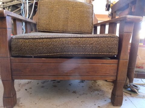 ... VINTAGE DEEP WOODEN CHAIR WITH CUSHIONS ...