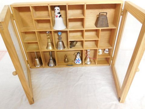 Knick Knack Wall Cabinet With Collectible Bells