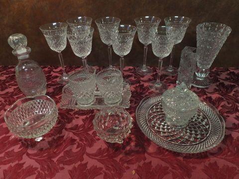 Lot Detail Vintage Fine Crystal Cut Glass Diamond Pattern Tall