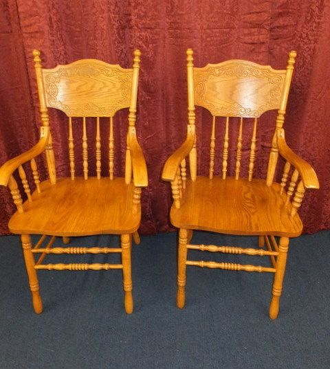 TWO OAK WOOD PRESSED BACK CAPTAINS CHAIR ...