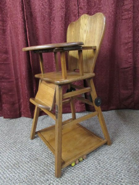 Lot Detail Vintage Wooden Baby High Chair