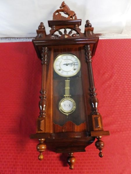 Lot Detail Vintage Wooden Pendulum Wall Clock With