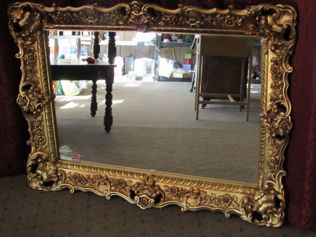 Lot detail a real statement piece large gold for Embellished mirror frame