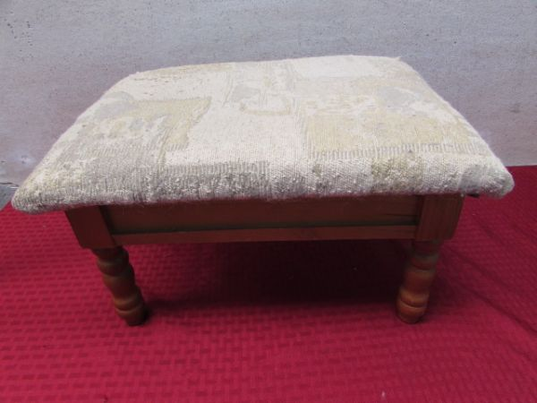 Lot detail cute foot stool with storage compartment