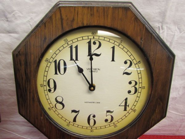 Lot Detail Two Vintage Wood Verichron Schoolhouse Wall Clocks