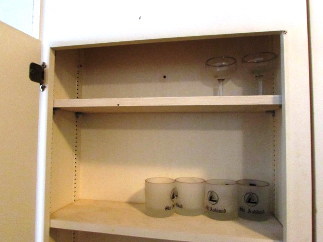 Two Matching Wood Wall Cabinets With Glware