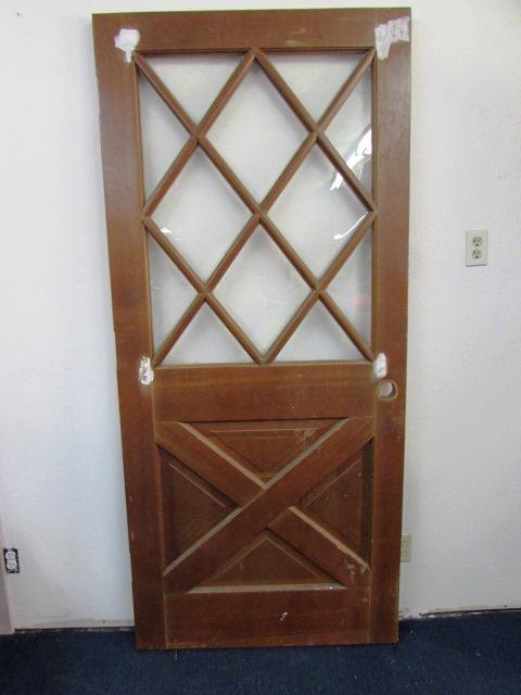 lot detail beautiful house door with diamond window pattern bottom crossbuck pattern. Black Bedroom Furniture Sets. Home Design Ideas