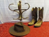 A LITTLE BIT COUNTRY - TONY LAMA BOOTS, LEATHER COWBOY HAT & WOOD HAT RACK
