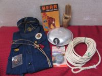 SCOUTS HONOR HAND, CUB SCOUT BOOK, SHIRT & HAT, CANTEEN, INDIAN BOLO & MORE