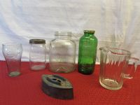 AWESOME VINTAGE 3LB VACUUM SEAL COFFEE JAR & GREEN GLASS REFRIGERATOR JAR, ANTIQUE FLAT IRON & . .