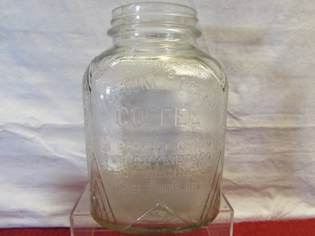 Lot Detail AWESOME VINTAGE 3LB VACUUM SEAL COFFEE JAR GREEN