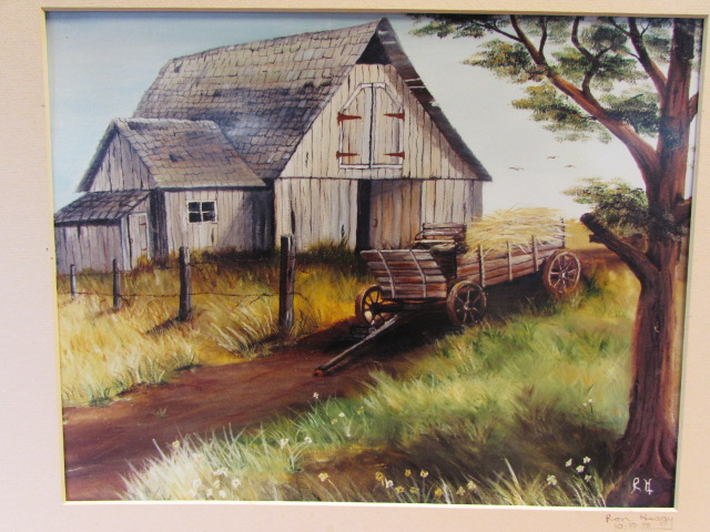 """Red Barn Auction >> Lot Detail - BEAUTIFUL RON HEAGY """"MOUTH ART"""" SIGNED BY ARTIST - RUSTIC COUNTRY SCENES"""