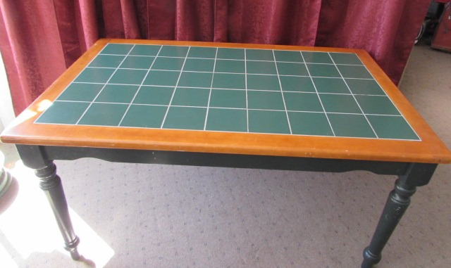 Lot detail nice country style green tile top table for Nice table styles