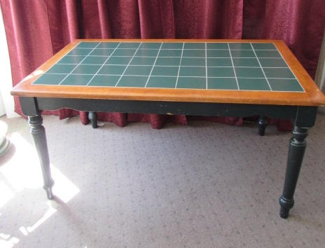 ... NICE COUNTRY STYLE GREEN TILE TOP TABLE