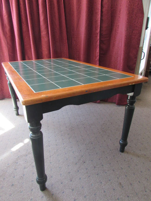 NICE COUNTRY STYLE GREEN TILE TOP TABLE