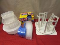 TUPPERWARE, NEVER USED FOOD STORAGE CAROUSEL ORGANZER & MORE