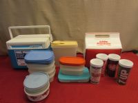SMALL ICE CHESTS, INSULATED CUPS & AN ASSORMENT OF TUPPERWARE - PICNIC OR CAMPING?