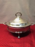VERY PRETTY SILVER PLATE FOOTED SERVER WITH PYREX BOWL INSERT