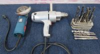 "HEAVY DUTY  1/2"" DRILL, BOSCH 4 1/2"" GRINDER & A SELECTION OF BITS"