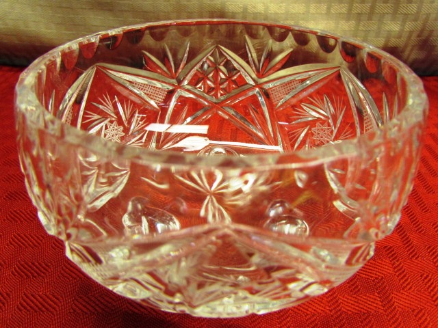 Lot Detail Lead Crystal Dish Stunning 12 Cut Glass Vase Antique