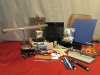 OFFICE SUPPLIES, LOTS OF VINTAGE - TWO DESK LAMPS, VINTAGE WASTE BASKET, BATES HEAVY DUTY 3 HOLE PUNCH, LABELER, BINDERS & . . . .
