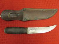 COOL VINTAGE KNIFE WITH STACKED LEATHER HANDLE & LEATHER SHEATH