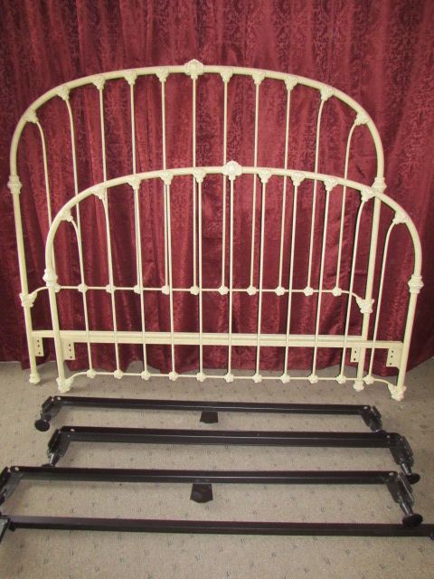 Lot Detail Wonderful Queen Size Wrought Iron Bed Frame Very Sturdy