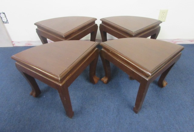 Beautiful Vintage Hand Carved Oriental Tea Table With Gl Top