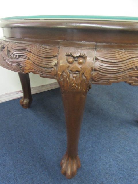 Beautiful Vintage Hand Carved Oriental Tea Table With Glass Top