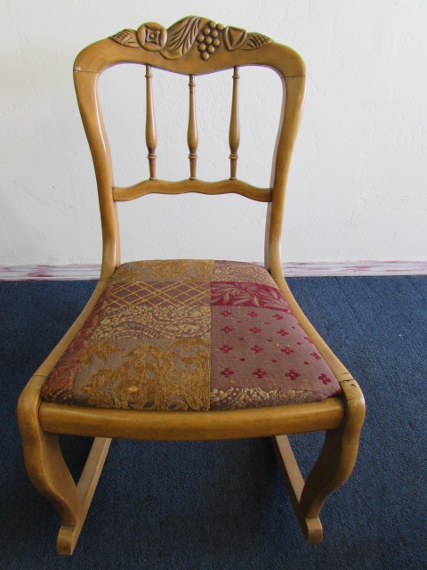 ... ANTIQUE CARVED MAPLE ROCKING CHAIR WITH UPHOLSTERED SEAT ... - Lot Detail - ANTIQUE CARVED MAPLE ROCKING CHAIR WITH UPHOLSTERED SEAT