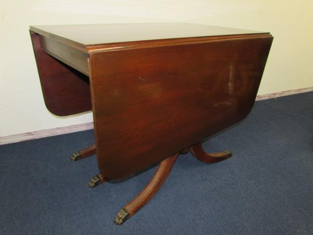 Antique Drop Leaf Table >> Lot Detail Antique Drop Leaf Table With Triple Pedestal Base Claw