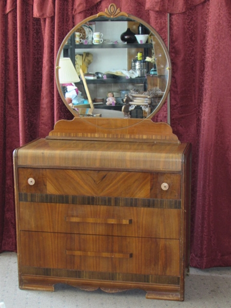 Lot Detail Gorgeous Antique Waterfall Dresser With Round