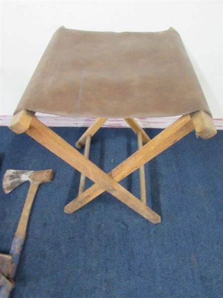 Handy Camping Stools ~ Lot detail handy hunter s camp metal ax folding