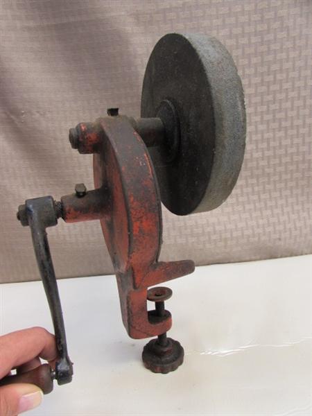 Lot Detail Working Vintage Clamp On Hand Crank Bench Grinder