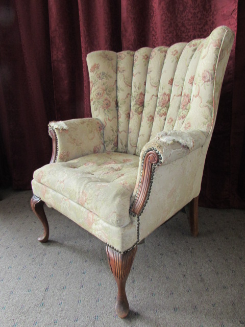 ... ANTIQUE WING BACK ARM CHAIR WITH CARVED LEGS & BRASS TACK UPHOLSTERY ... - Lot Detail - ANTIQUE WING BACK ARM CHAIR WITH CARVED LEGS & BRASS