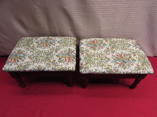 Lot detail two cute foot stools with hidden storage