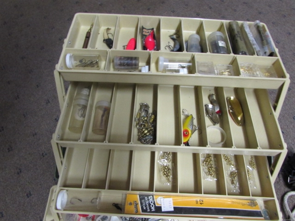 Lot Detail Large Fully Loaded Fishing Tackle Box Bobbers Lead