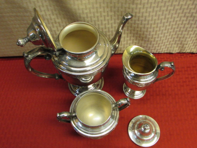 Lot detail elegant silver plate william rogers son spring elegant silver plate william rogers son spring flowers tea pot creamer sugar bowl mightylinksfo