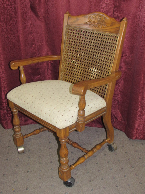 lot detail - second lovely solid oak captains chair on casters