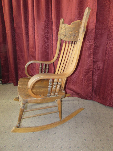 Lot Detail LOVELY ANTIQUE BENTWOOD SOLID OAK ROCKING CHAIR