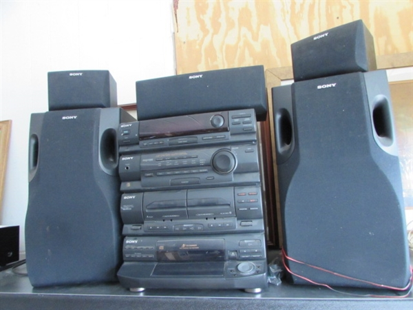 lot detail sony compact hi fi stereo system with 5. Black Bedroom Furniture Sets. Home Design Ideas