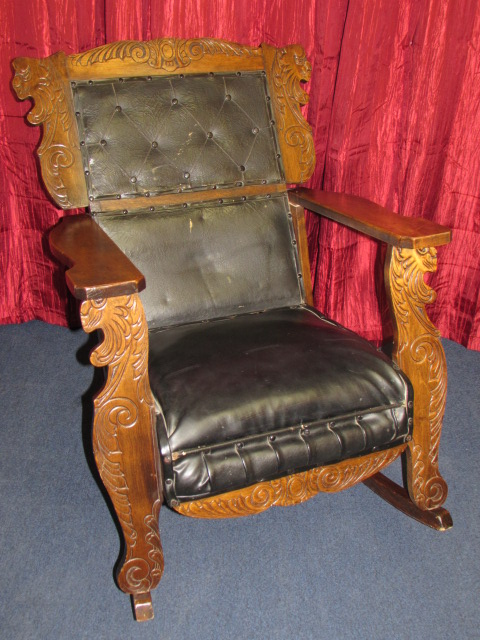 ... HANDSOME U0026 UNIQUE ANTIQUE MAHOGANY ROCKING CHAIR WITH CARVED LIONS HEADS,  UPHOLSTERED SEAT U0026 BACKREST ...
