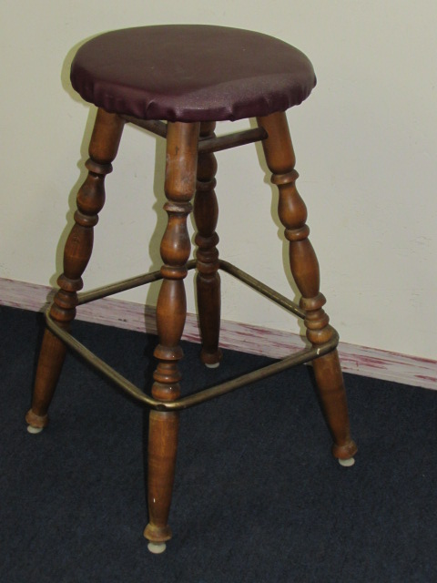 Lot detail cute bar stool with turned legs metal foot rest