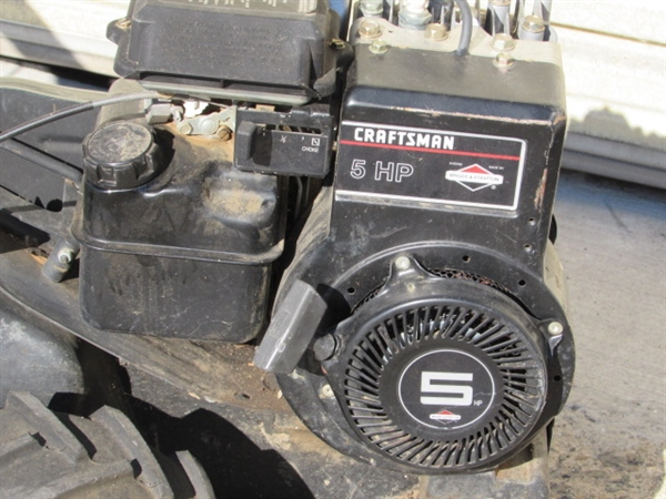 Lot detail craftsman rear tine tiller with 5 hp briggs for Briggs and stratton 5hp motor