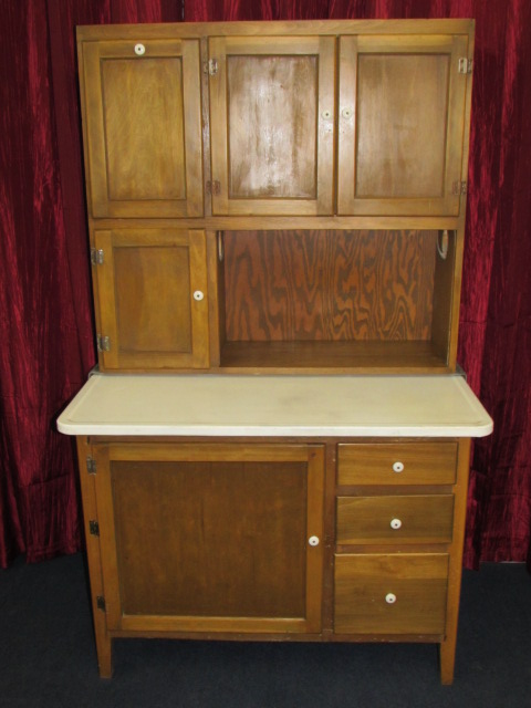 Lot Detail Vintage Wood Hoosier Cabinet With Flour Bin