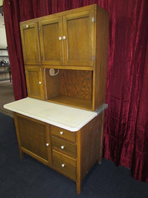 Lot Detail Vintage Wood Hoosier Cabinet With Flour Bin