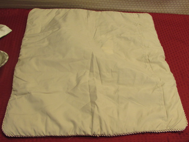 Lot Detail - TWO PRETTY THROW PILLOWS & TWO SHAMS -PERFECT FOR SOFA IN LOT #2
