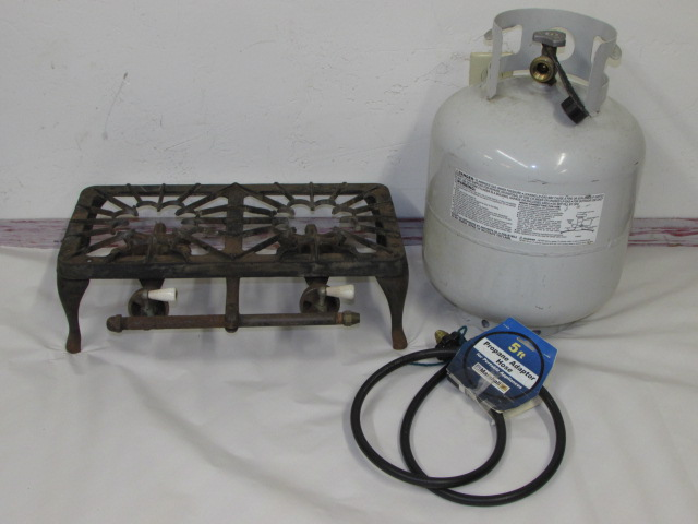 Lot Detail Cool Old Cast Iron Double Burner Propane Camp